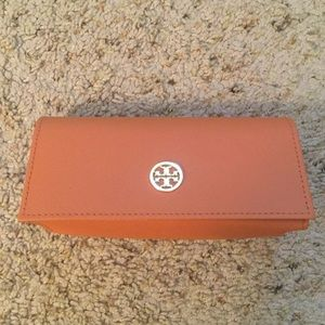 TORY BURCH ORANG LOGO SUNGLASSES EYEGLASS CASE NEW